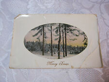MERRY XMAS CHRISTMAS WITH WINTER WOODS SCENE POSTCARD MADE IN GERMANY   T*