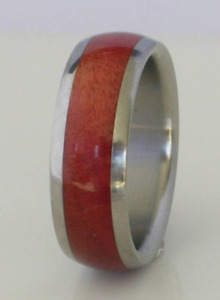 Titanium Wood Ring Pink Burl Wood 8mm Mens Ladies 7mm Wedding Band MADE U.S.A.