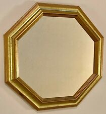 """Home Interiors Gold Tone Octagon Shaped 15"""" Accent Mirror w/ Sawtooth Hanger"""