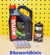 Kawasaki ZX-10 R Ninja 4L Öl + K&N Ölfilter + Zündkerzen Bj 06-16 Motul 10w40