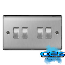 Masterplug Nbs44 10 a 4-gang 2-way Metal Brushed Steel Light Switch