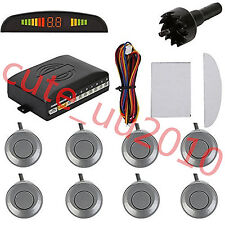 Universal Grey 8 Parking Sensors Car LED Display Reverse Backup Radar System Kit