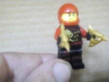 Lego Mini Figure Black Ninja Gold Nunchucks Red Helmet