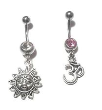 NEW 2 Pieces Omn Sign and Sun Belly Ring Clear and Pink Gem boho body jewlery