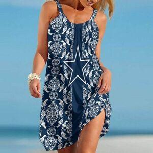 Dallas Cowboys Women Summer Sleeveless Casual Dress Floral Beach Swing Sundress