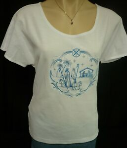 Ladies boat neck dolman sleeve Knit-T embroidered *Blue Nativity* sew-ezy-aust