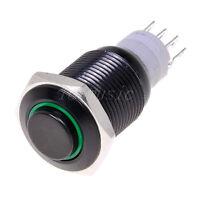 16mm 12V Black Metal High Head latching Push Button Switch Annular LED-Green