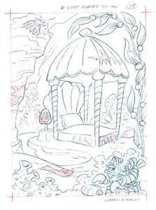 Walt Disney Little Mermaid Book Page Illustration Drawing Pete Alvarado plm13