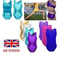 UK Girls Shiny Ballet Dance Dress Leotard Gymnastics Sleeveless Lace Jumpsuit
