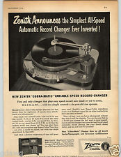 1950 PAPER AD Zenith Cobra-Matic Record Player Changer Mayflower Console AM-FM