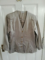 WAREHOUSE WOMENS BEIGE COTTON JACKET SIZE 14 PIT TO PIT 20 LENGTH 27 POCKETS