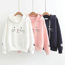 Women Cat Print Long Sleeve Sweatshirt Loose Casual Hooded Sweater Pullover Tops
