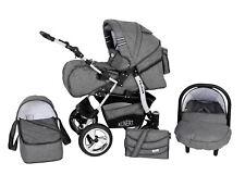 Kombikinderwagen Kinderwagen 3in1 mit Babyschale 0-13kg Volver Leinen Grau, baby