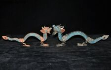 Tibet crystal Silver Filigree Inlay coral Turquoise Double Loong Dragon Statue