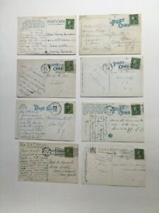 1920's Lot of 8 Ben Franklin 1 Cent Stamp Used/Uncancelled On Vintage Postcard