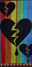 Betz Serviette de plage en velours 100% coton, taille 70x140 cm, dessin: Cœur