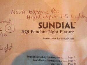 Current Sundial HQI Pendant Light Fixture Owner & Operating Manual, Good Cond.