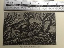 1940s Woodcut Print Log Hauling by Anton Lock: Forestry, Horse, Tree Felling