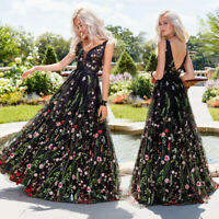 Womens Deep V Neck Sleeveless Backless Embroidery Floral Long Dress Ball Gown