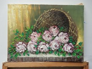 The original painting with roses in a basket overturned by Voineagu