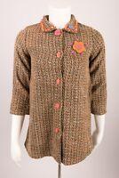 Michael Simon Girls Coat Size 7 Jacket Brown Tweed Blue Floral Knee Length