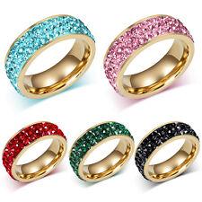 Black/Green/Red/Pink/White CZ Titanium Steel Ring Stainless Wedding Band Sz 5-10