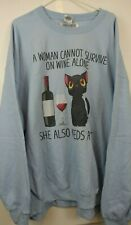 Blue Sweatshirt Wine Lover Cat Lover Womens 5XL Novelty Rarity NWD
