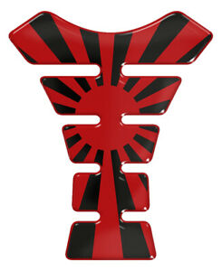 Japanese Flag Rising Sun Black & Red 3D Resin Domed Tank Pad
