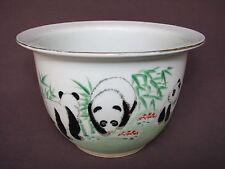 Chinese Ceramic White Black Green Painted Panda Bear Bamboo Flower Pot Planter