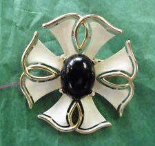 "Vintage Crown Trifari Maltese Cross Pin, 2"" Diameter, Ivory Enamel"
