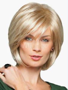 100% Human Hair New Fashion Charm Short Light Blonde Straight Human Hair Wigs