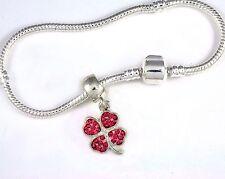 shamrock Bracelet 4 Leaf clover bangle Irish Clover Scottish Lucky charm Pink