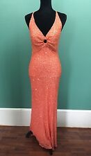 Scala 100% Silk Long Beaded Evening Gown / Prom Dress - Size Large - Peach