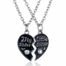 1Pair Best Friend Jewelry Big Sister Little Sister Broken Heart Pendant Necklace