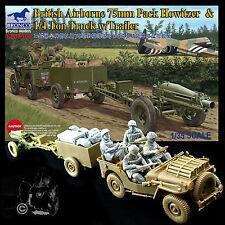 BRONCO MODELS 1/35 BRITISH AIRBORNE 75MM PACK HOWITZER & 1/4 TON TRUCK W/TRAILER
