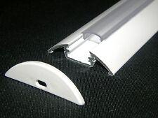 LED Profilo Alluminio-Dissipatore di calore P4, verniciato bianco, DIFFUSORE CHIARO, estremità, 1m