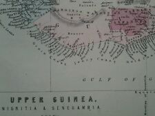 c1878 MAP ~ UPPER GUINEA ~ ILLUSTRATING ASHANTEE EXPEDITION NIGRITIA