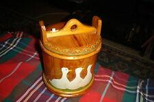 Vintage Folk Art Handcrafted Round Wood Storage Sewing Box W/ Bone Latch CUTE !