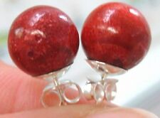 925 STERLING SILVER 9mm RED CORAL ROUND BALL STUDS EARRINGS