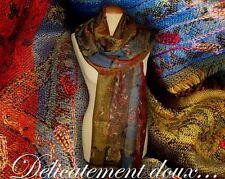 Très belle étole 100% laine motifs Cachemire Multicolore - CH48