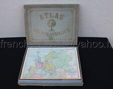 Ancien Jeu puzzle BOIS ATLAS GEOGRAPHIQUE JFL Paris La TERRE Planisphere France