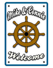 Personalized Nautical Sign Printed w YOUR NAME SHIPS WHEEL ALUMINUM GLOSS WHT477
