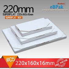 50x Mailing Box Superflat 220x160x16mm Envelope Size Rigid Mailer Postage Saver