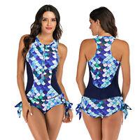 Women Sleeveless One-piece Swimsuit Wetsuit Rash Guard Bathing Surfing Swimwear