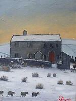 James Downie Original Oil Painting Snowy Landscape With Sheep Farmer & Sheepdog