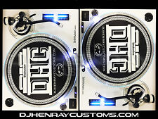 2 custom White &black Technics SL1200 mk2's white halos & pitch leds powder coat