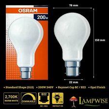 OSRAM 200 W 240V baïonnette cap bc b22 Gls Dimmable Ampoule Opal