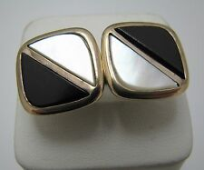 a434 Vintage Square Gold Tone Cuff links with Onyx and Mother of Pearl