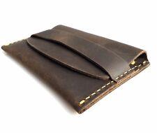 Men's Soft Leather Credit Card wallet 2 Slots Back Pocket Size Handmade brown uk