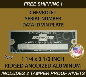 """CHEVY CHEVROLET SERIAL NUMBER VIN DOOR TAG DATA ID PLATE RIDGED 1 1/4"""" X 3 1/2"""""""